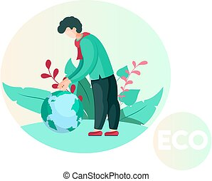 hacia, ambiente, pequeño, tipo, pensamiento, se inclina, sobre, planeta, cuidado, globe., naturaleza, hombre