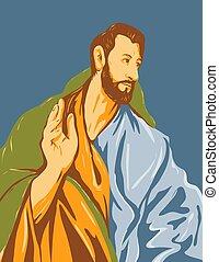hacia, santo, 1608, domenikos, dar derecho, cartel, greco, thomas, arte, el, ilustraciones, wpa, apóstol, theotokopoulos