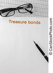 hacienda, papel, mesa., bonos