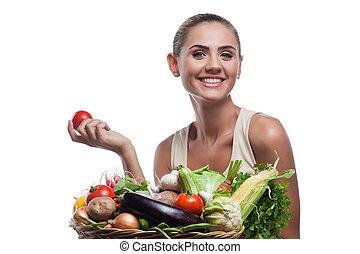 haciendo dieta, mujer, sano, vegetariano, -, joven, alimento, concepto, tenencia, vegetable., cesta, feliz