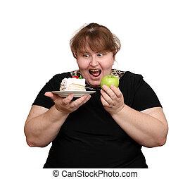 haciendo dieta, mujer, sobrepeso, opción