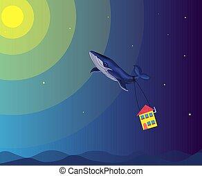 hada, ballena, moscas, cielo, casa