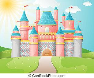 hada, castillo, cuento, illustration.
