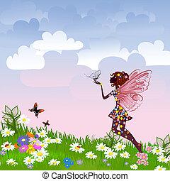 hada, celestial, pradera, flor
