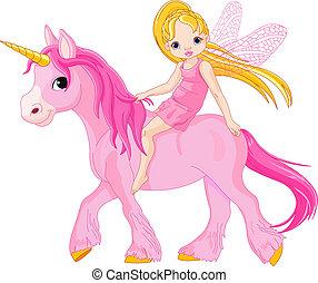 Hada en unicornio