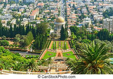 haifa, bahai, imagen, israel., jardines, hermoso