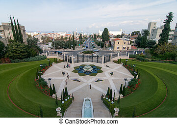 haifa, israel, -, jardines, bahai