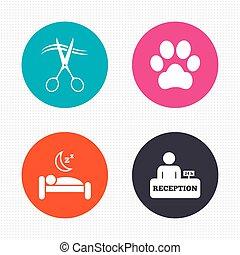 hairdresser., hotel, permitido, mascotas, servicios, icon.