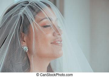 hairstyle., hotel, posar, concepto, magnífico, maquillaje, labios, hinchado, novia, eyes., mañana, lujo, sea., terraza, destino, mirar, bride., expresivo, morena, boda