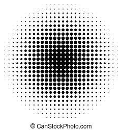 half-tone, puntos, monocromo, círculos, halftone, pattern.