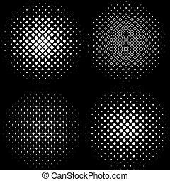 Halftone Frames Un conjunto de 4 patrones de fotogramas a medias.