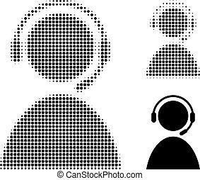 halftone, operador, icono, punteado, centro de la llamada
