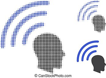 halftone, punteado, ondas, telepatía, icono