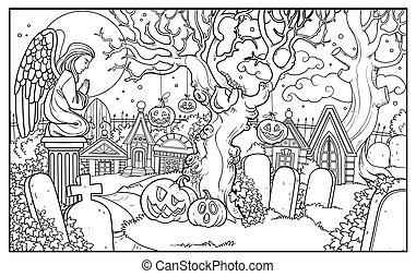 halloween, ángel, colorido, cementerio, plano de fondo, estatua, página, contorneado, criptas, oración
