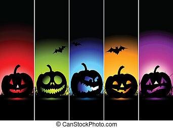 halloween, banderas, diseño, su