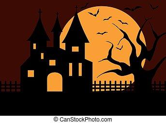 halloween, castillo, ilustración