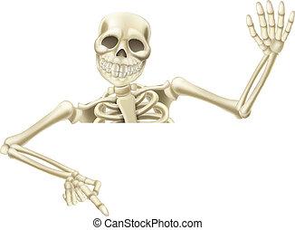 halloween, esqueleto, señalar