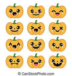 Halloween kawaii lindos iconos de calabaza