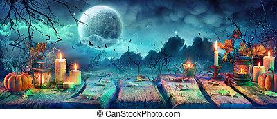 halloween, luna, calabazas, fantasmal, tabla, noche, lleno, velas