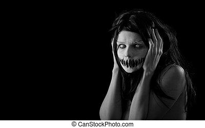 halloween, niña, boca, asustadizo