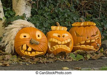 halloween, tres, calabazas