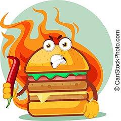 Hamburguesa caliente enfadada tiene un chile picante, ilustración, vector de fondo blanco.
