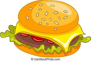 hamburguesa, caricatura