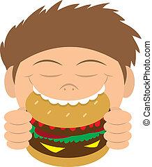 hamburguesa, comida, niño