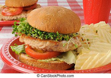 Hamburguesa de pavo con coles