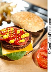 hamburguesa, fastfood, -
