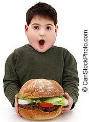 hamburguesa, obeso, gigante, hambriento, niño
