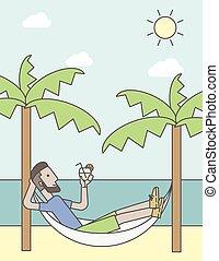 hammock., escalofriante, hombre