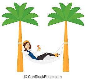 hammock., mujer, escalofriante