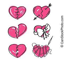 hand-drawn, fondo., vector, illustration., conjunto, corazón, blanco, roto