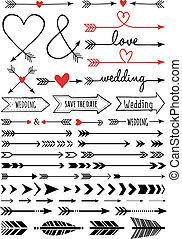 hand-drawn, vector, conjunto, flechas