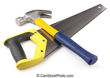 hand-saw, martillo