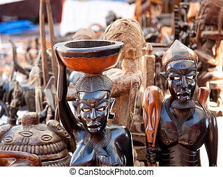 handcraft, oscuridad, madera, figuras, tallado, africano