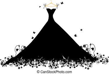 hander, vestido, vector, negro, ilustración