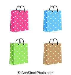 handles., brown., rosa, set., blanco, soga, bolsa, vector, papel, verde, compras, aislado, azul