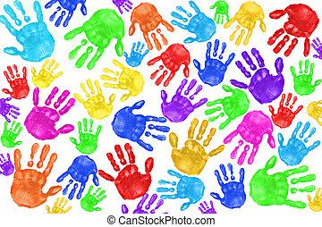 handpainted, niños, handprints