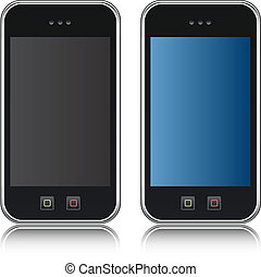 handphone, teléfono, vector, celular, iso