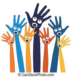hands., alegre, gente, canto