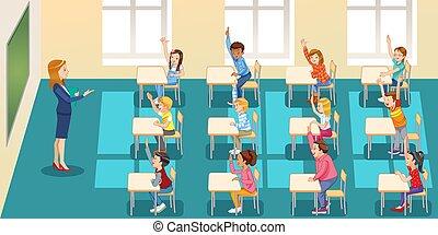 hands., aula, educación, aprendizaje, grupo, gente, -, concepto, elemental, niños, sentado, escuela, levantar, profesor, escuela