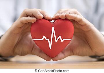 hands., seguro, pulso, corazón, concepto, salud