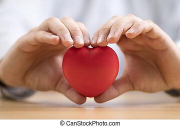 hands., seguro, salud, corazón, concept., rojo, o, amor