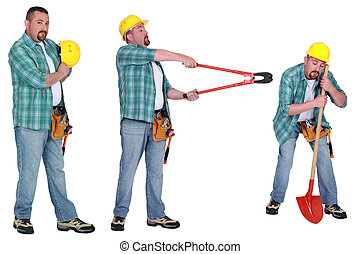 Handyman con diferentes herramientas
