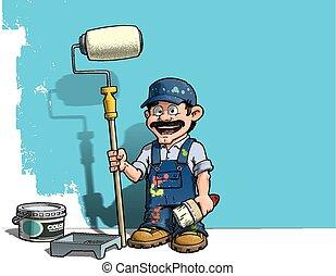 Handyman, pintor azul de pared uniforme