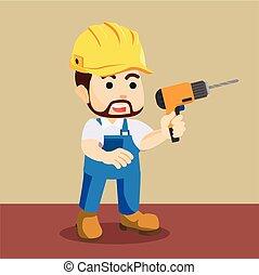 Handyman sosteniendo ilustraciones de taladro