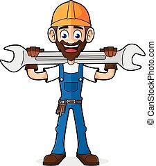 Handyman sosteniendo la llave