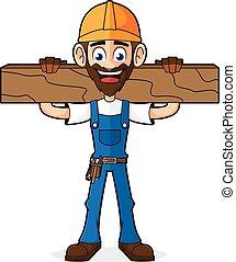 Handyman sosteniendo madera